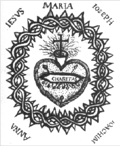 Picture of the Sacred-Heart of Jesus drawn by saint Marguerit-Mary