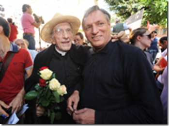 Father Luigi Ciotti with his mentor and friend, the anarchist priest and defender of sodomites issues, the late Don Gallo.